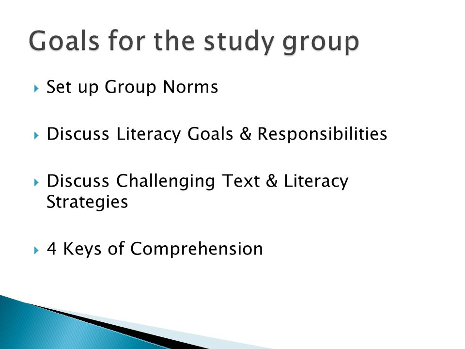 Goals for the study group