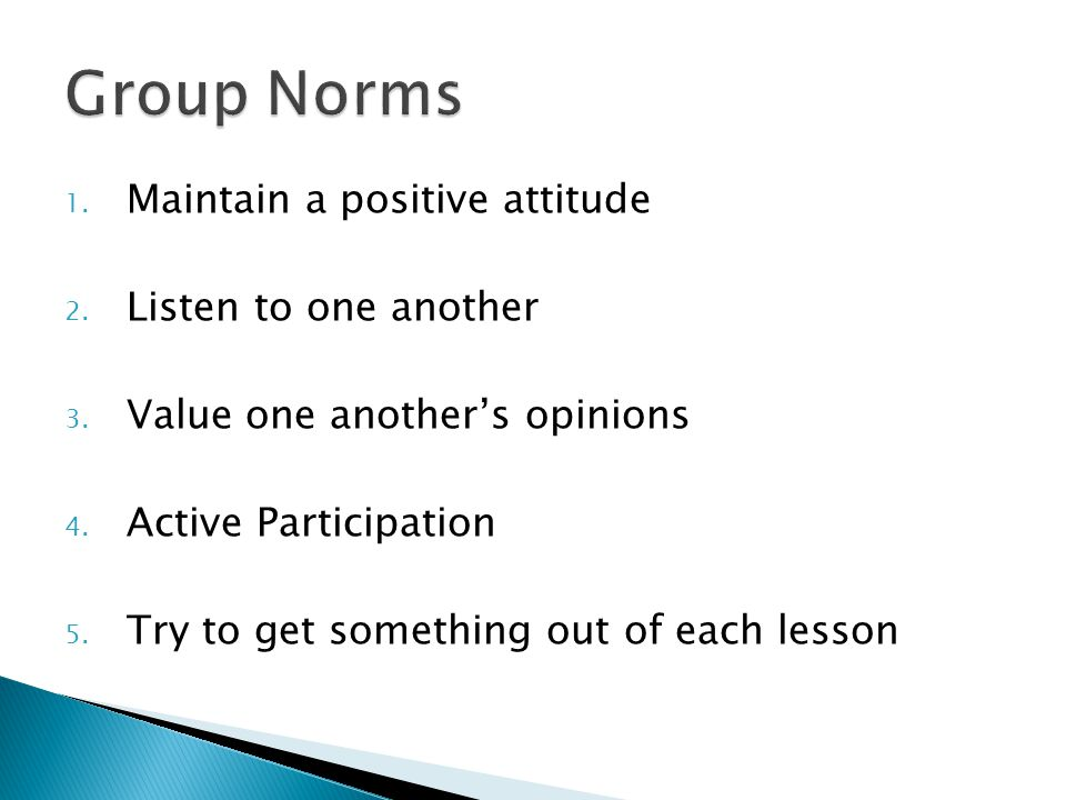 Group Norms Maintain a positive attitude Listen to one another