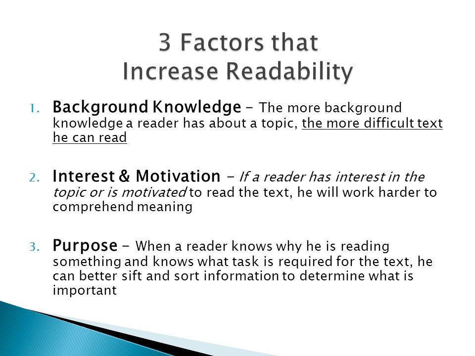 3 Factors that Increase Readability
