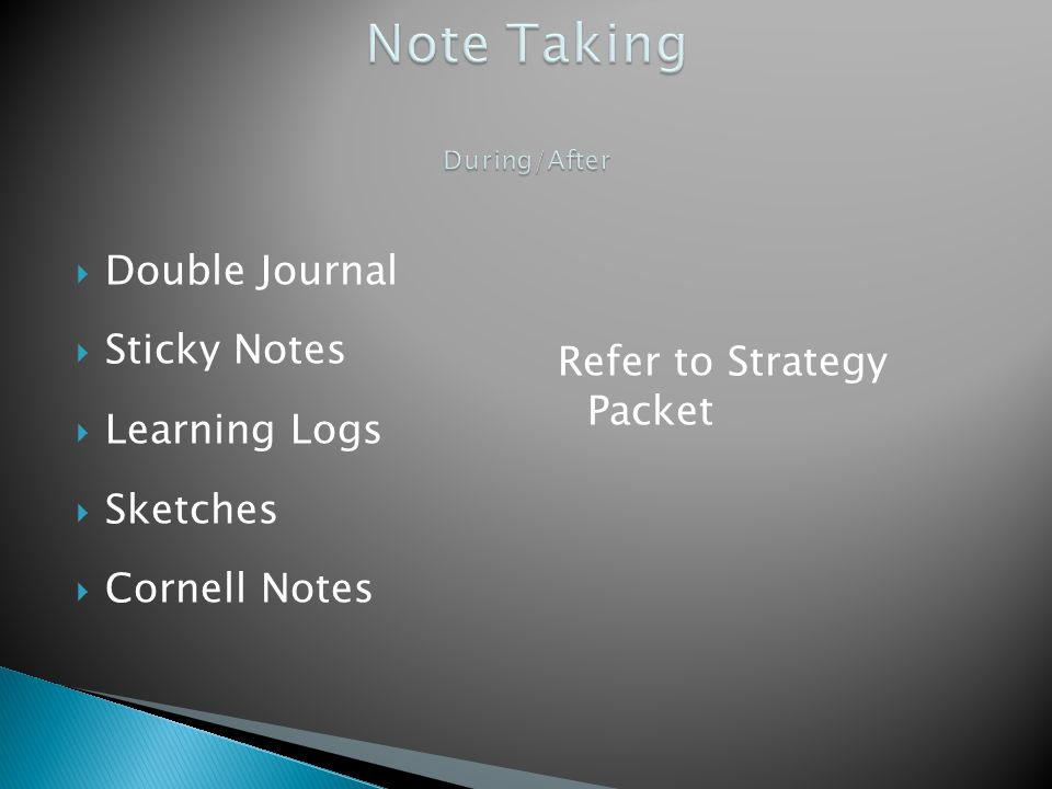 Note Taking During/After