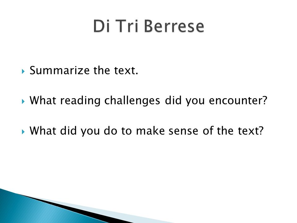 Di Tri Berrese Summarize the text.