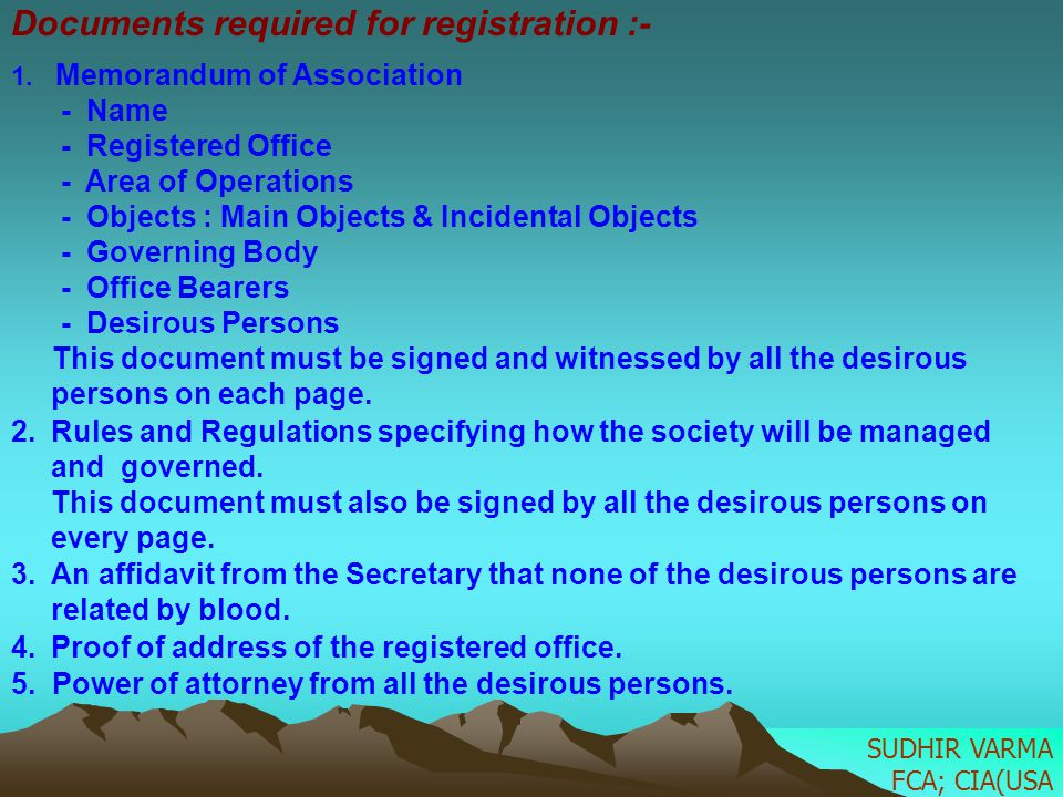 Documents required for registration :-