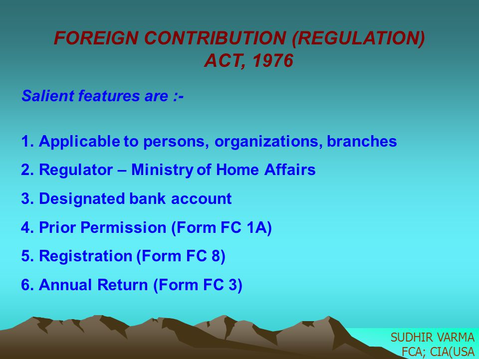 FOREIGN CONTRIBUTION (REGULATION) ACT, 1976