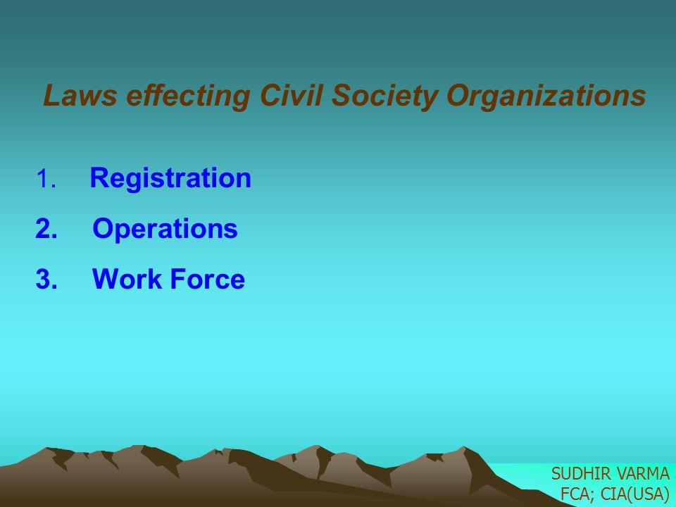 Laws effecting Civil Society Organizations
