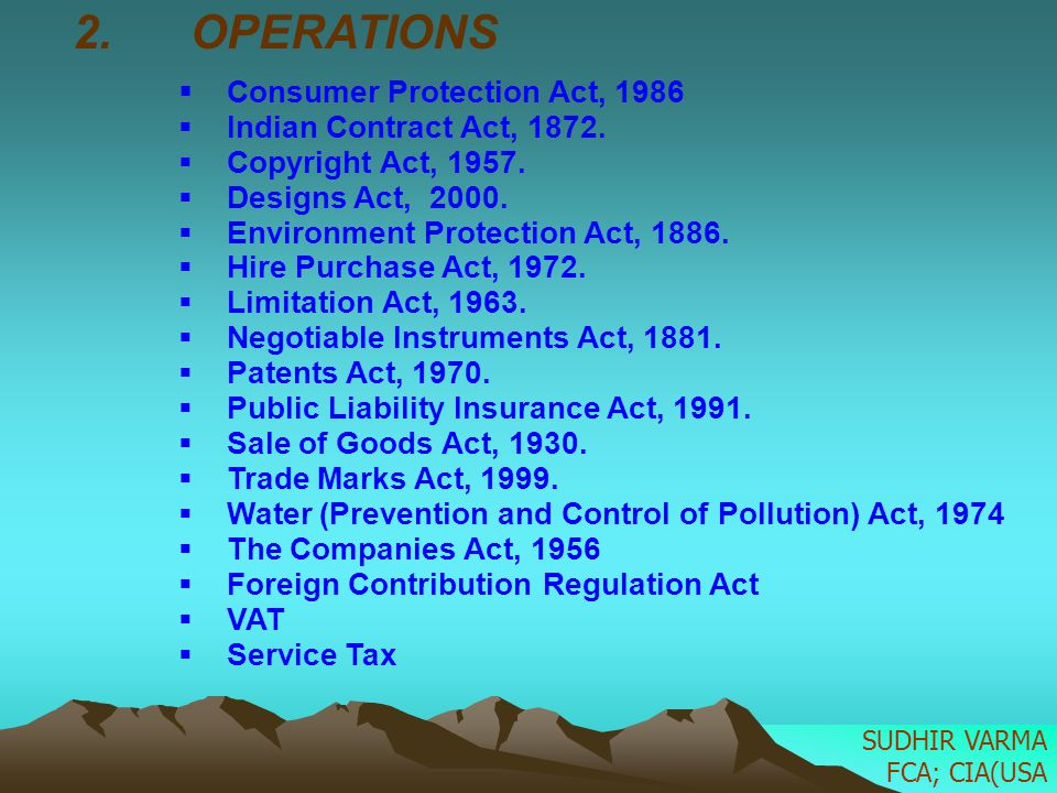 OPERATIONS Consumer Protection Act, 1986 Indian Contract Act, 1872.