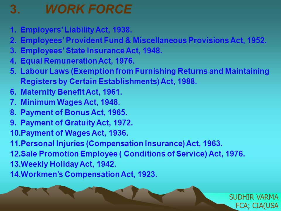 WORK FORCE Employers' Liability Act, 1938.