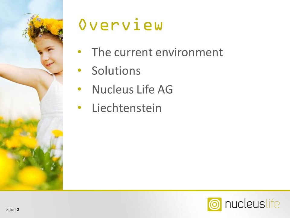 Overview The current environment Solutions Nucleus Life AG