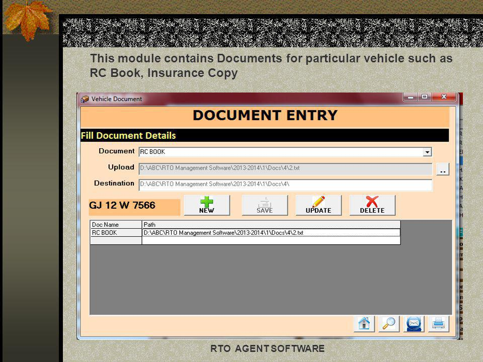 This module contains Documents for particular vehicle such as