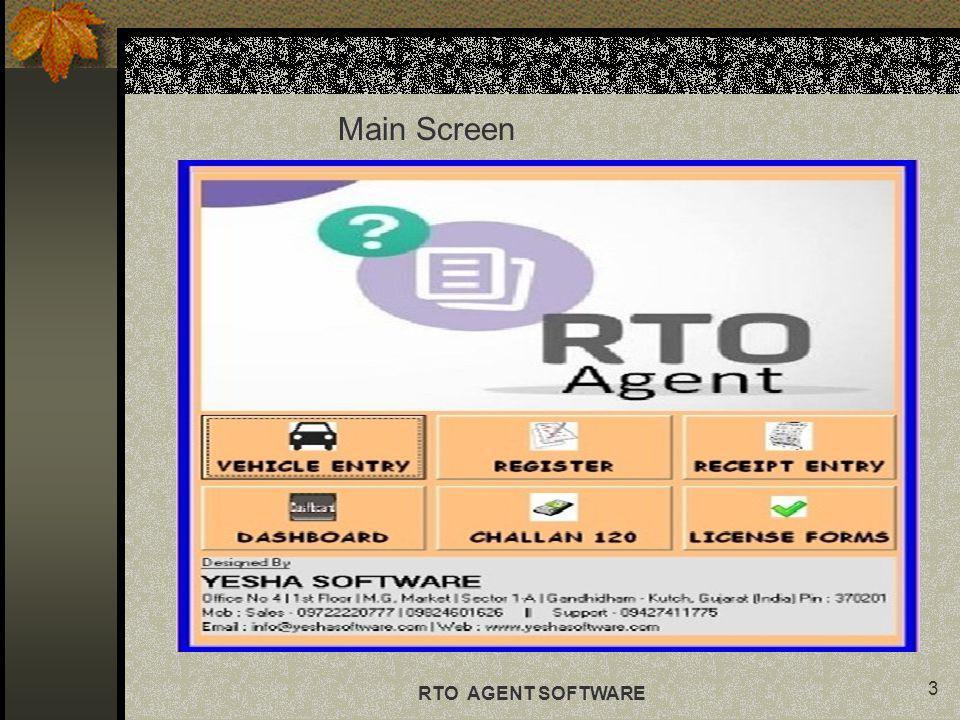 Main Screen RTO AGENT SOFTWARE