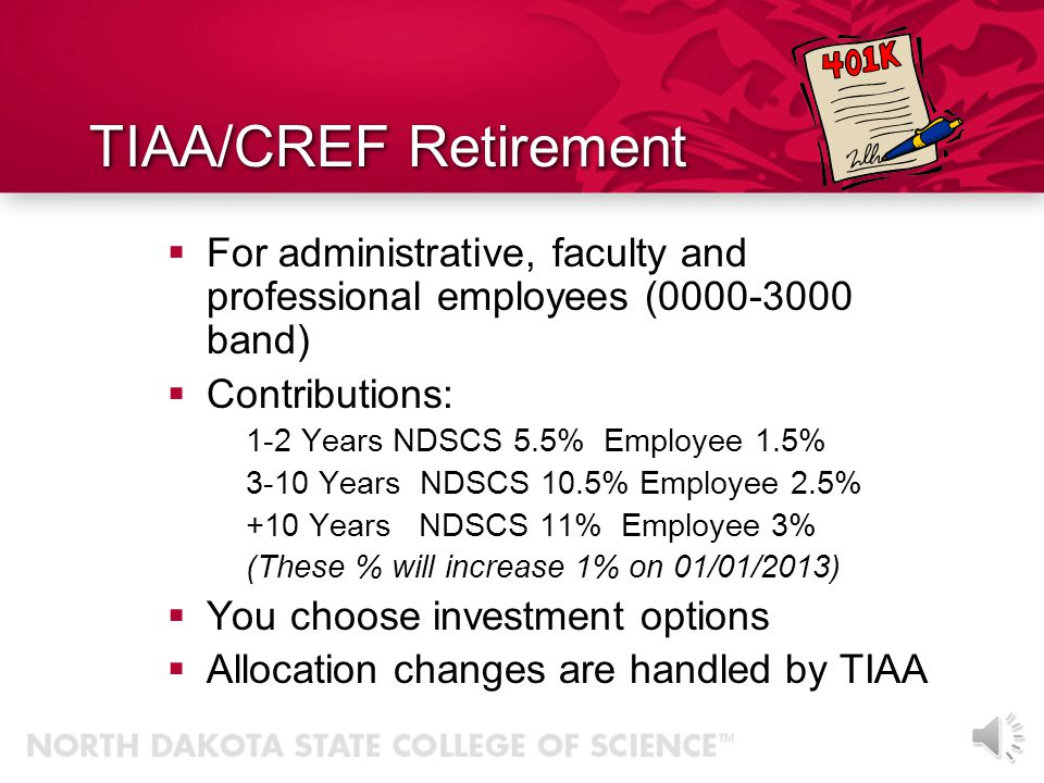 TIAA/CREF Retirement For administrative, faculty and professional employees (0000-3000 band) Contributions: