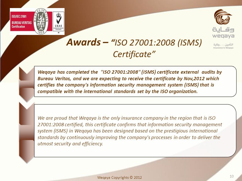Awards – ISO 27001:2008 (ISMS) Certificate