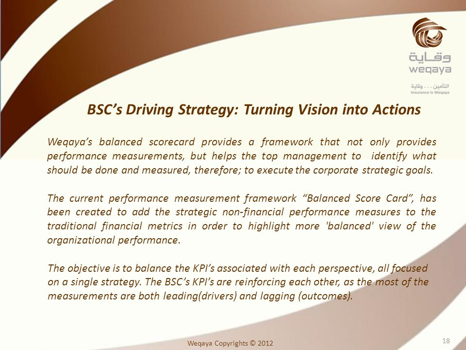 BSC's Driving Strategy: Turning Vision into Actions