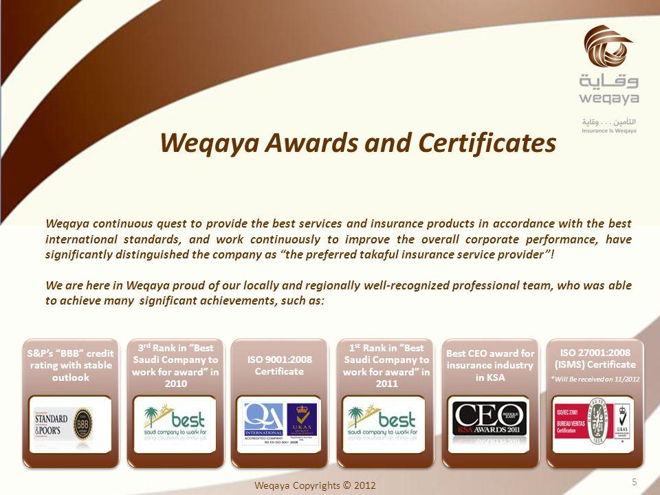 Weqaya Awards and Certificates