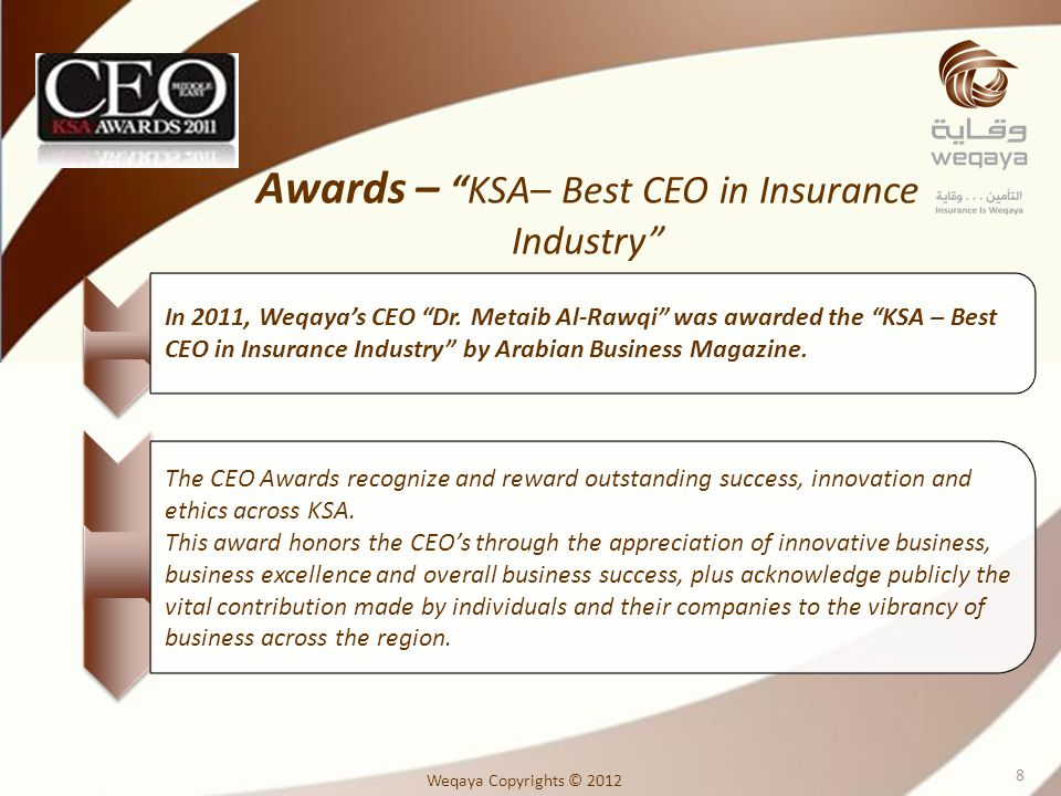 Awards – KSA– Best CEO in Insurance Industry