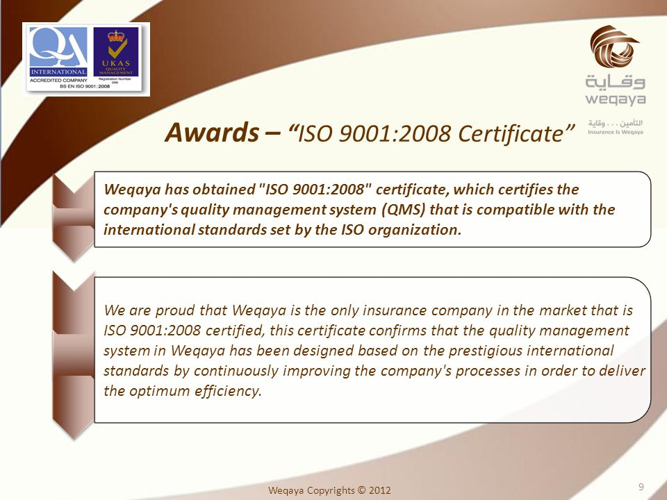 Awards – ISO 9001:2008 Certificate