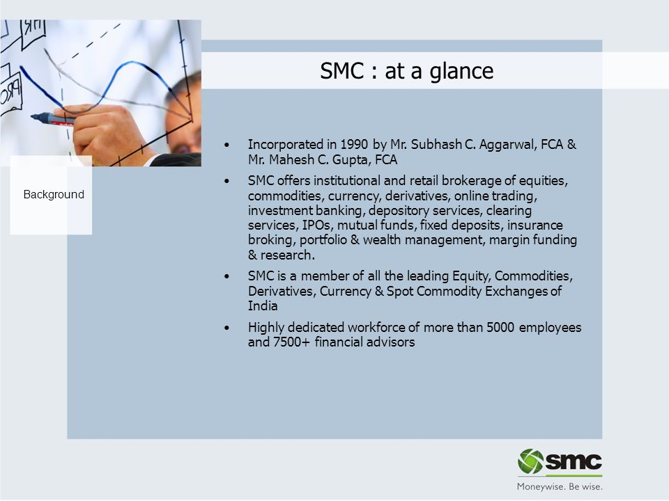 SMC : at a glance Incorporated in 1990 by Mr. Subhash C. Aggarwal, FCA & Mr. Mahesh C. Gupta, FCA.