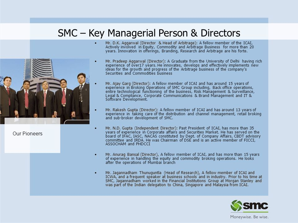 SMC – Key Managerial Person & Directors
