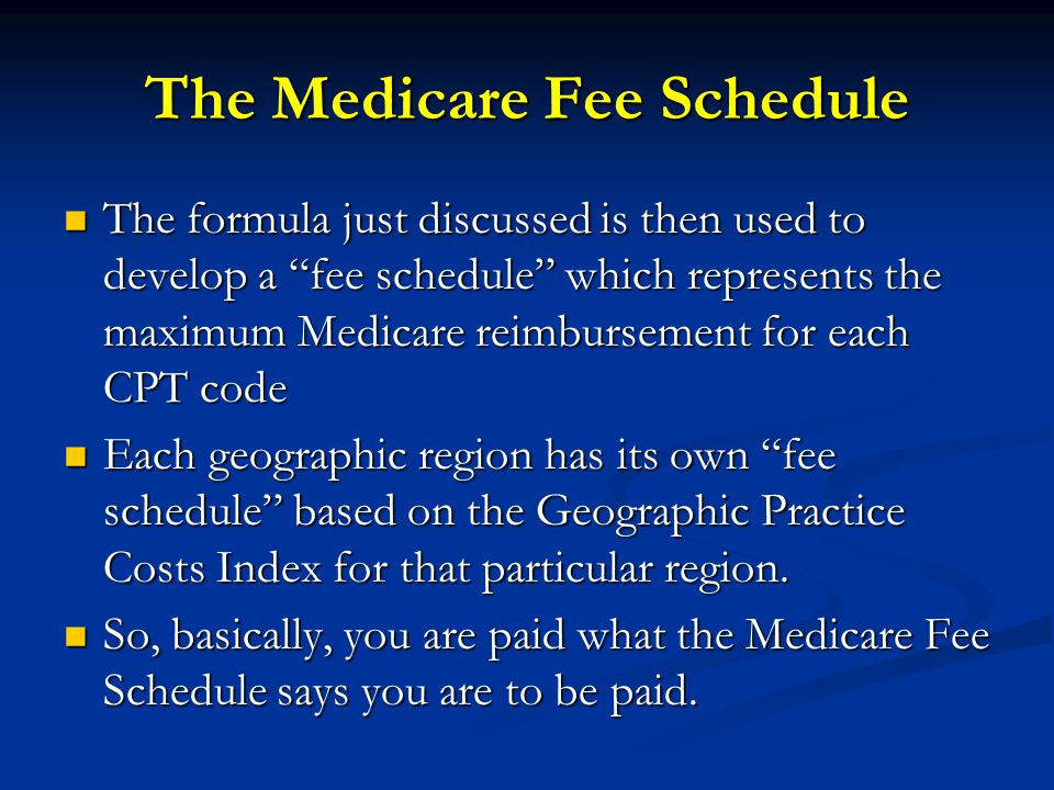 The Medicare Fee Schedule