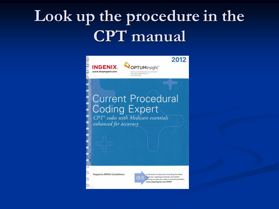 Look up the procedure in the CPT manual