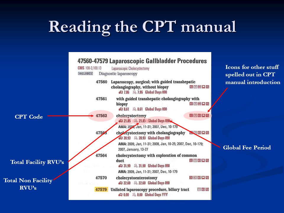 Reading the CPT manual Icons for other stuff spelled out in CPT manual introduction. CPT Code. Global Fee Period.