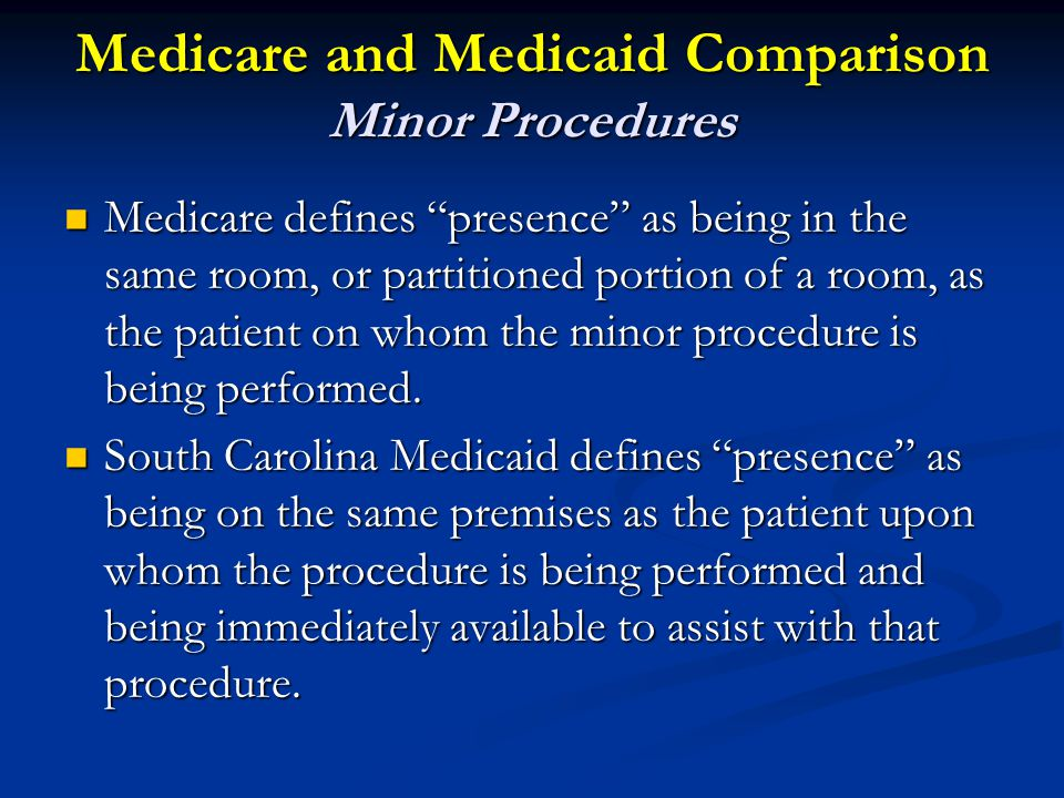 Medicare and Medicaid Comparison Minor Procedures