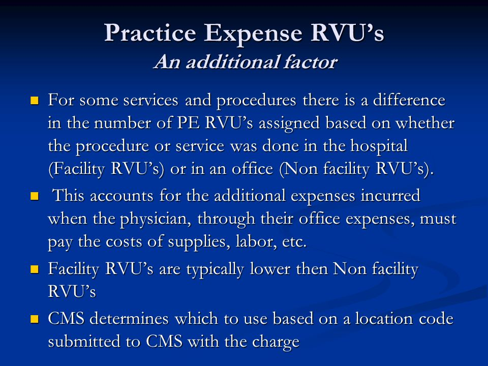 Practice Expense RVU's An additional factor