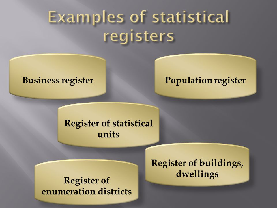 Examples of statistical registers