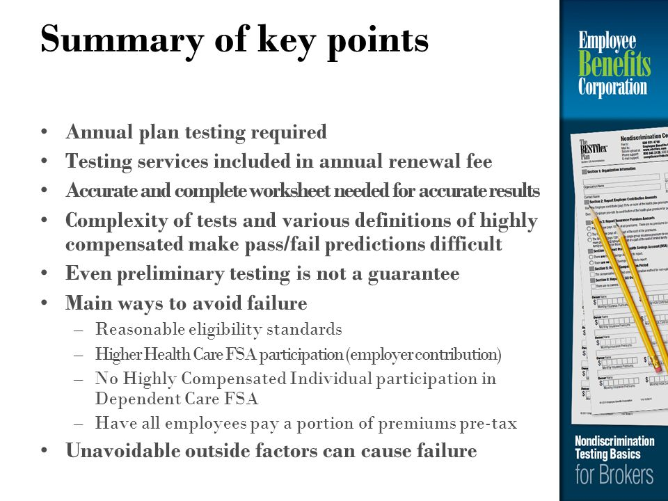 Summary of key points Annual plan testing required
