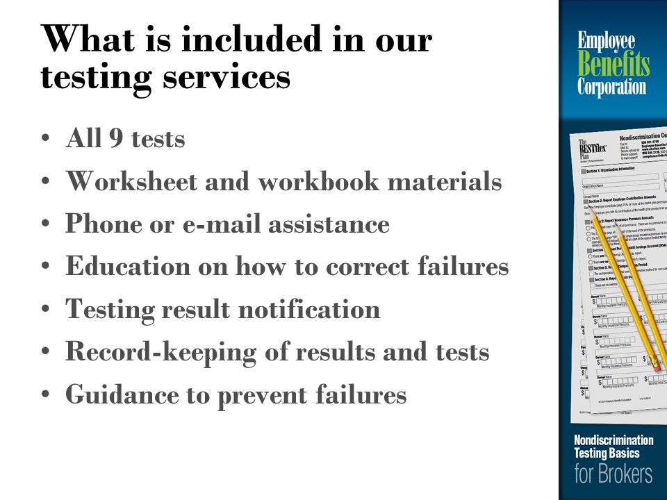 What is included in our testing services