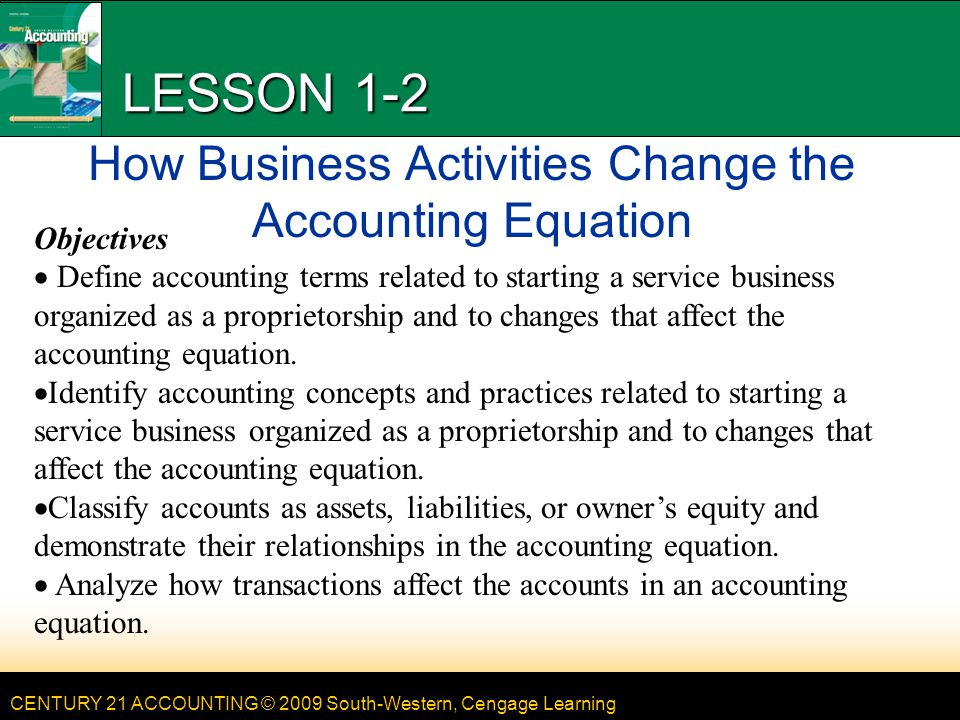LESSON 1-2 How Business Activities Change the Accounting Equation