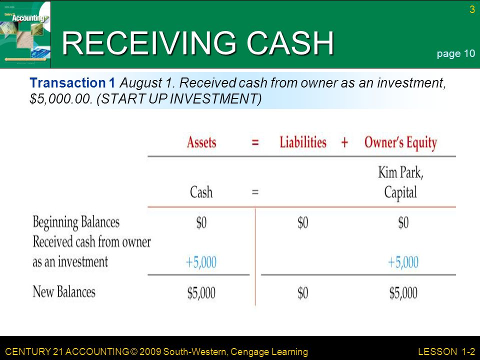RECEIVING CASH page 10. Transaction 1 August 1. Received cash from owner as an investment, $5,000.00. (START UP INVESTMENT)