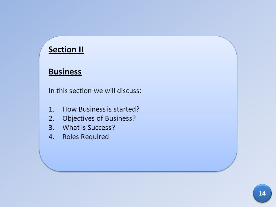 Section II Business In this section we will discuss: