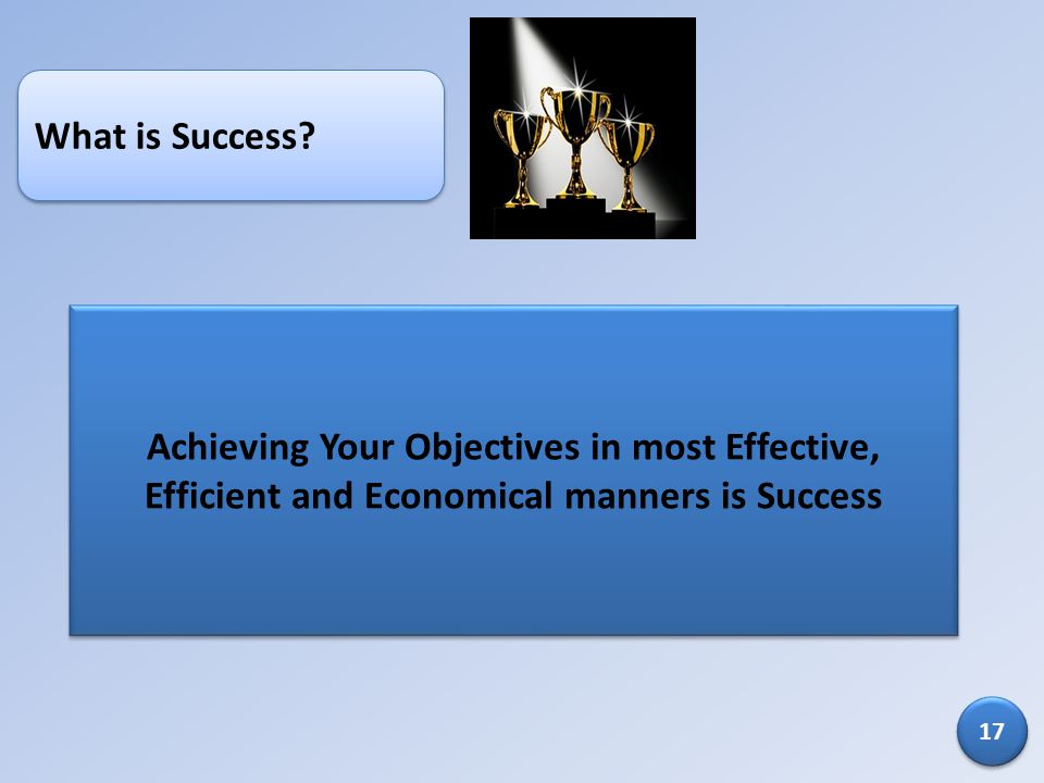 What is Success Achieving Your Objectives in most Effective, Efficient and Economical manners is Success.