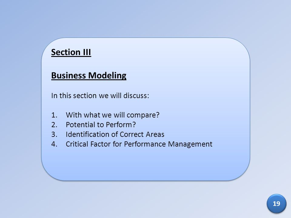Section III Business Modeling In this section we will discuss: