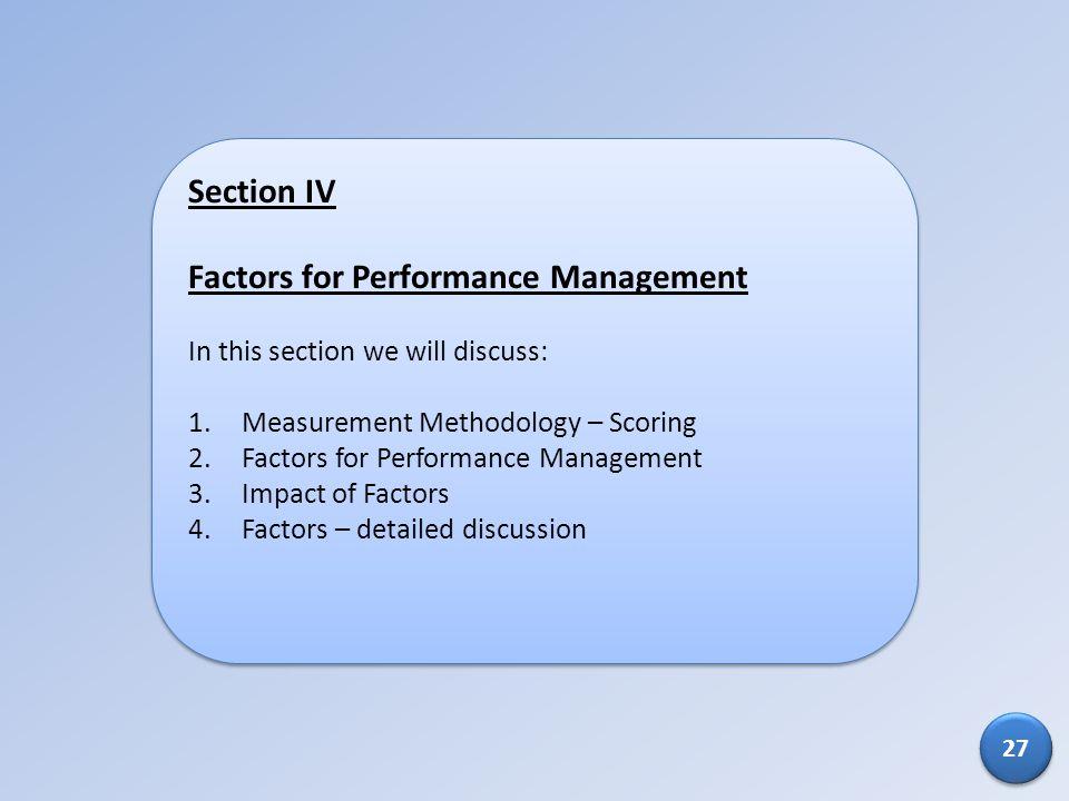 Factors for Performance Management