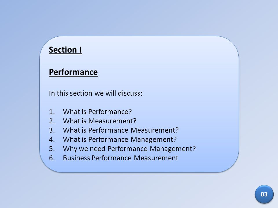 Section I Performance In this section we will discuss: