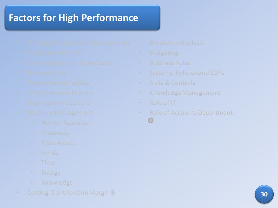 Factors for High Performance