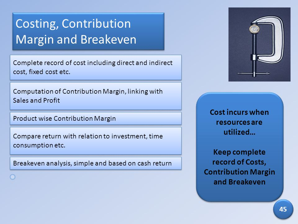 Costing, Contribution Margin and Breakeven