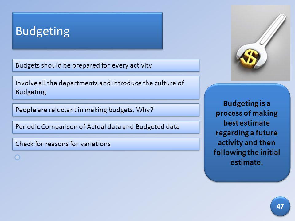 Budgeting Budgets should be prepared for every activity. Involve all the departments and introduce the culture of Budgeting.