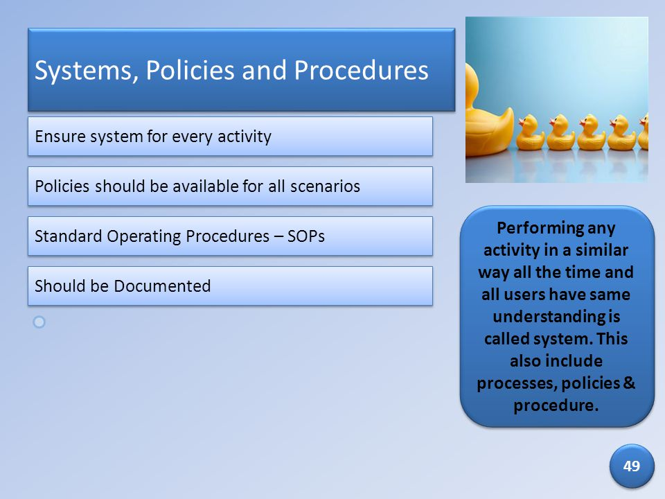 Systems, Policies and Procedures
