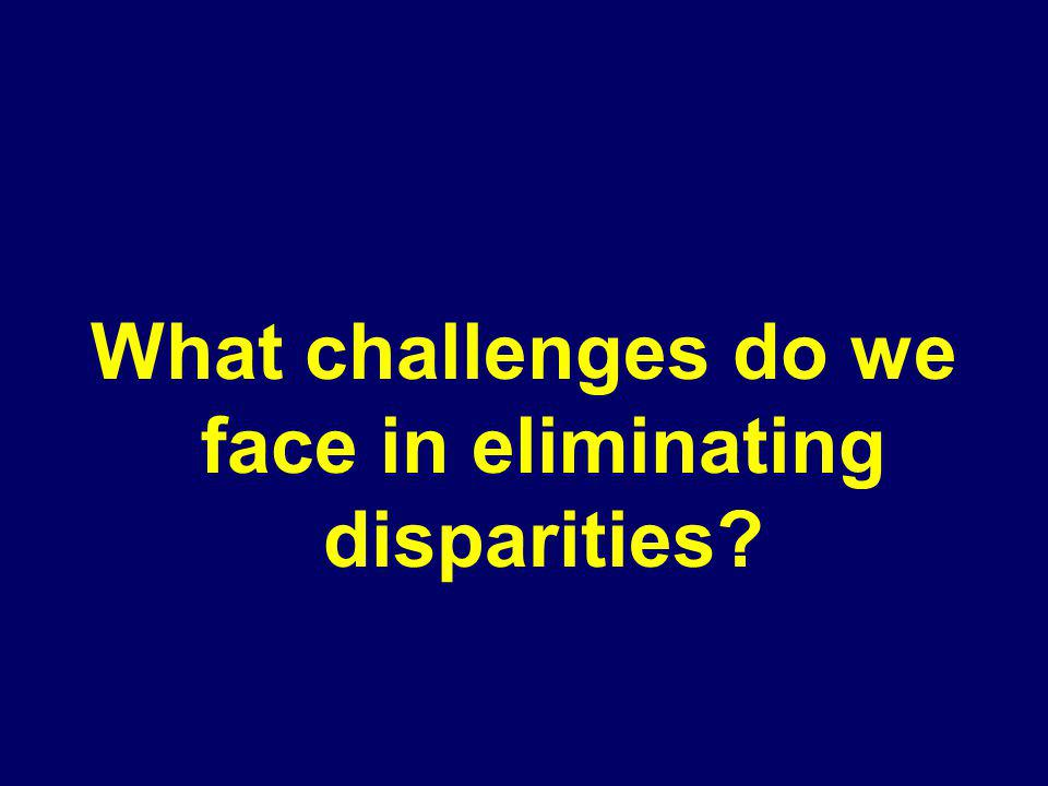 What challenges do we face in eliminating disparities