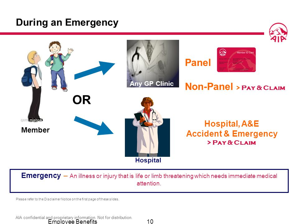OR During an Emergency Panel Non-Panel > Pay & Claim Hospital, A&E