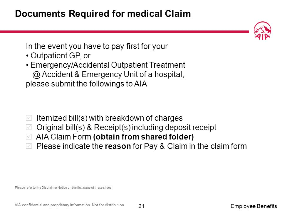 Documents Required for medical Claim