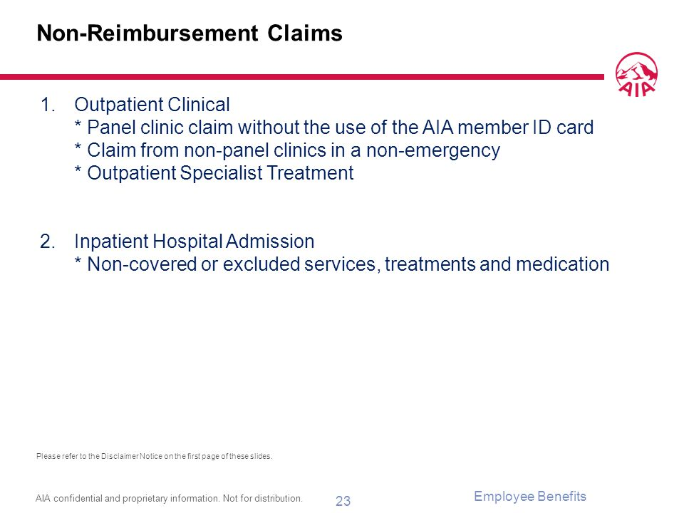 Non-Reimbursement Claims