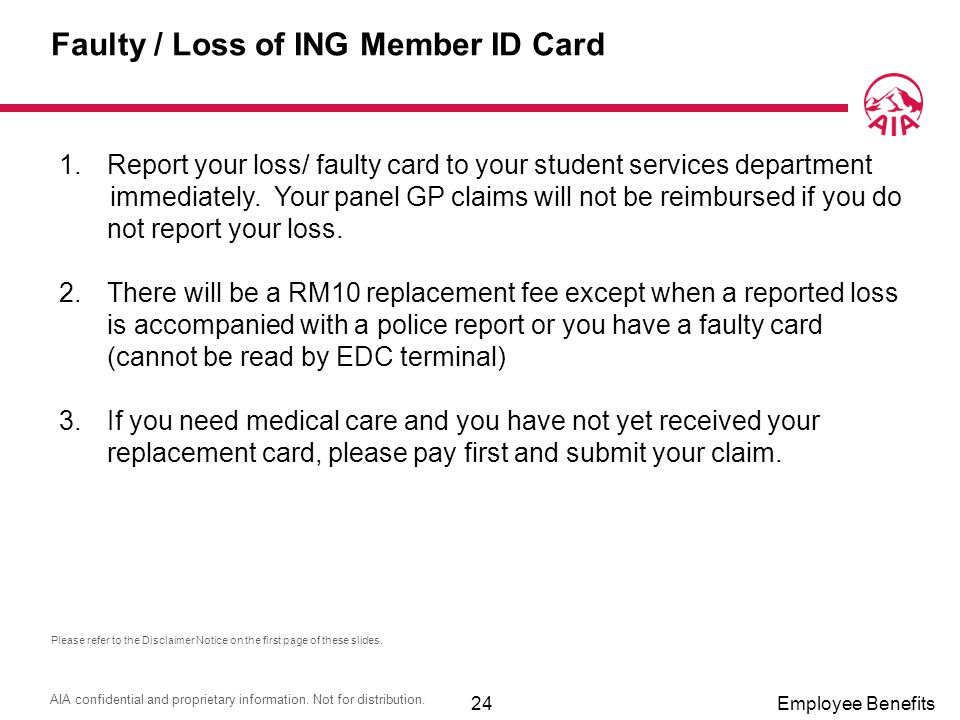 Faulty / Loss of ING Member ID Card