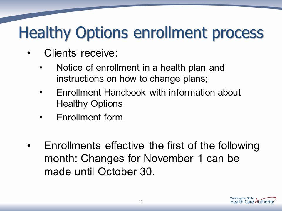 Healthy Options enrollment process