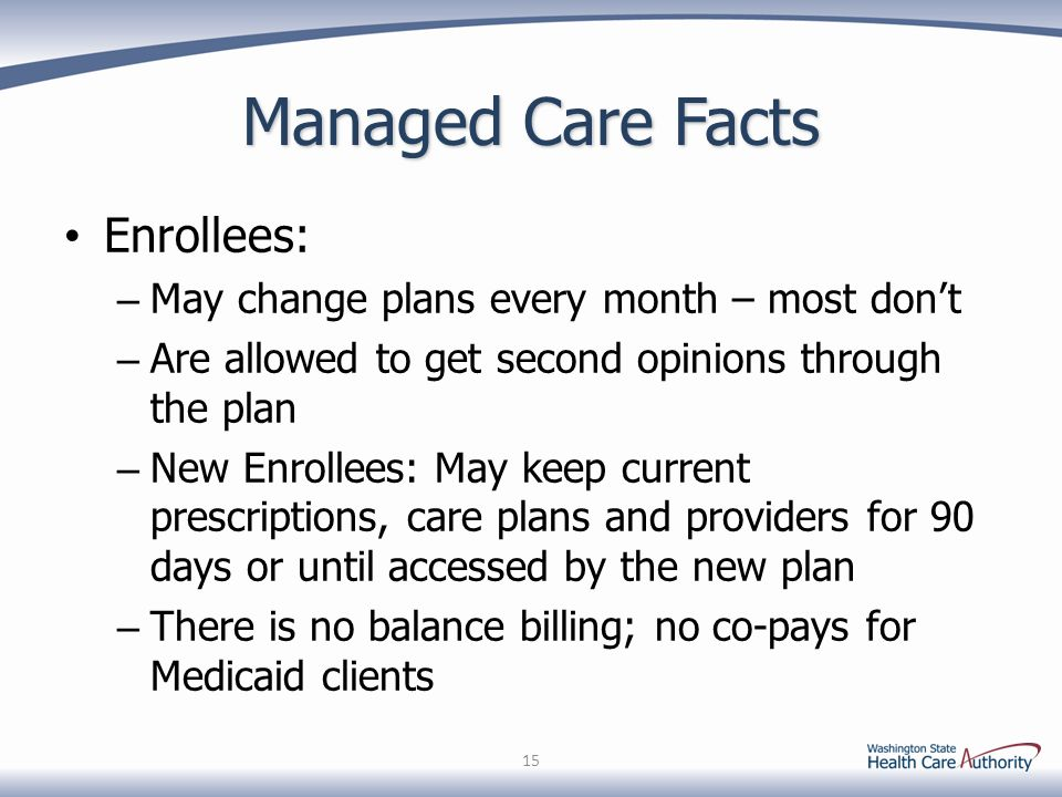 Managed Care Facts Enrollees: