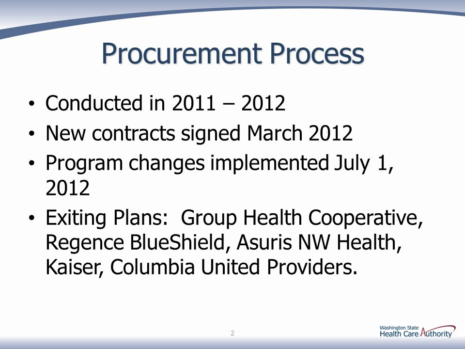 Procurement Process Conducted in 2011 – 2012