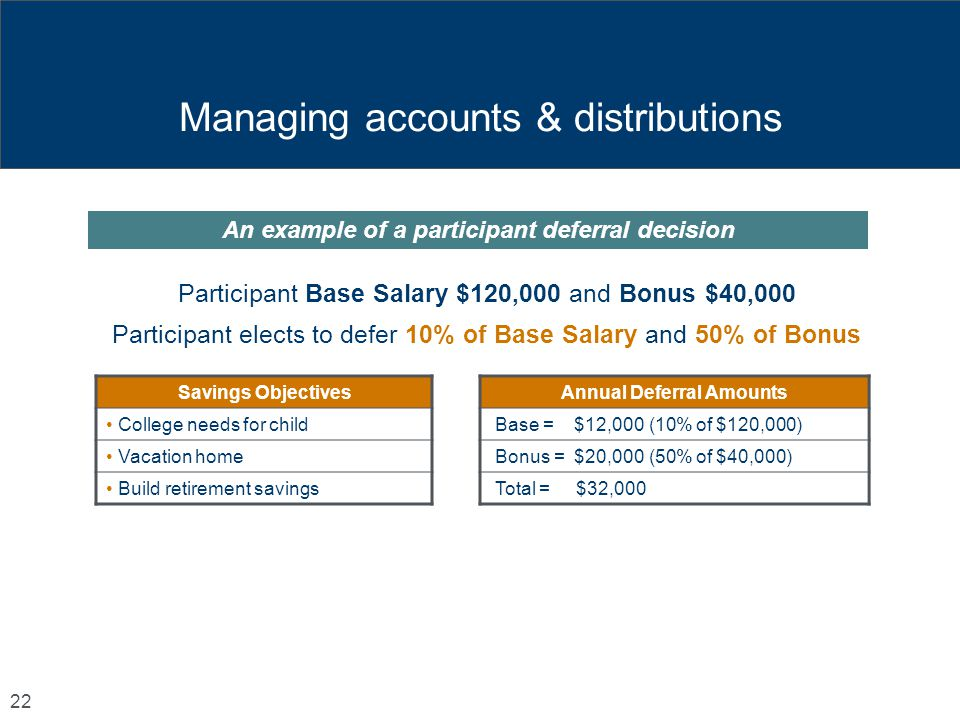 Managing accounts & distributions