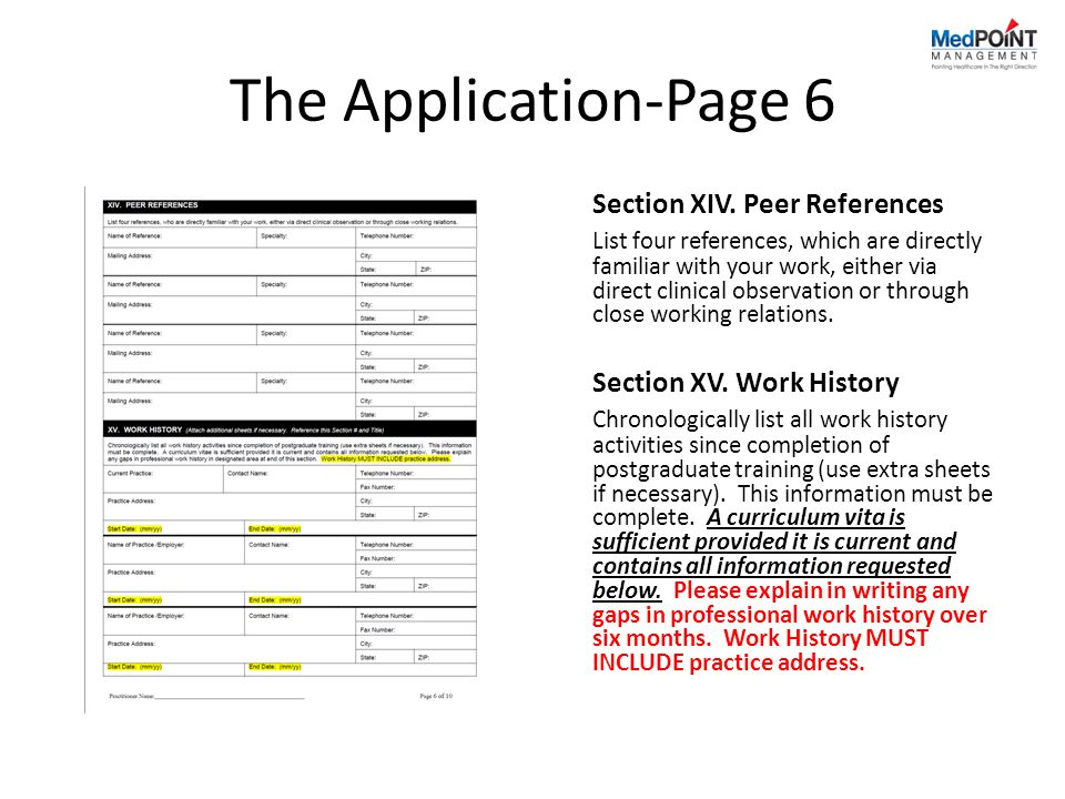 The Application-Page 6 Section XIV. Peer References